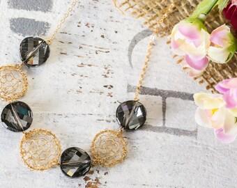 Gold filled Necklace  , Smokey Grey Swarovsky, Swarovsky Crystals, Swarovsky Crystal Necklace , Elegant Jewelry