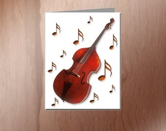 Upright Bass Note Cards - Free Shipping