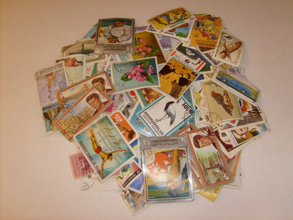 Vintage Cancelled Postage Stamps