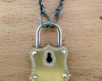 "Hand Forged Silver, 18 Karat Yellow Gold and Diamond Lock and Key Pendant on an Organic Silver 24"" Chain"