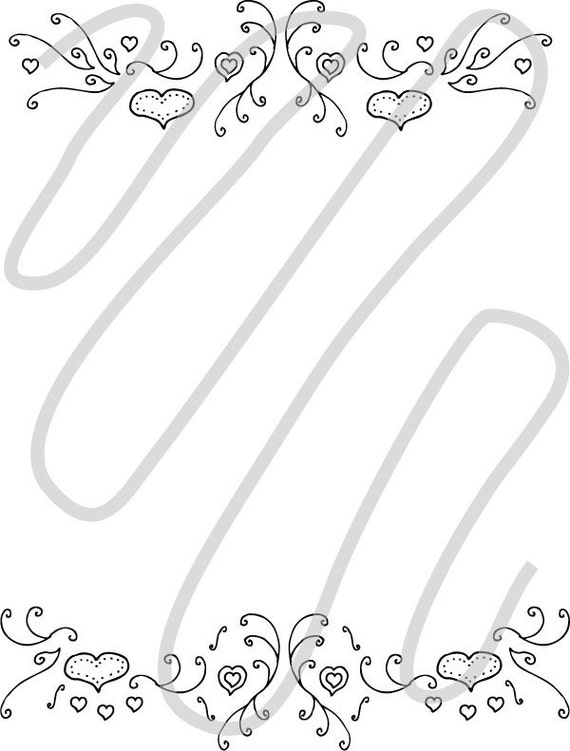 Heart frame horizontal border with scroll lines that is a hand drawn    Heart Border Horizontal