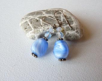 Blue Glass Crystal Silver Earrings,Blue Silver Earrings,Small Dangle Earrings,Blue Glass Earrings,Crystal Dangle Earrings,FREE SHIPPING