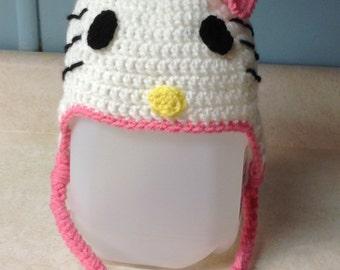 Crochet Hello Kitty Hat/ any size