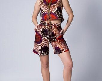 High Waisted Shorts, Wax Print Shorts, Red printed shorts, Red shorts, African print shorts, Coord shorts, Cotton shorts