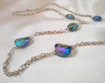 Iridescent  Glass Beads Capture the Caribbean Water with Silver Toned Accents