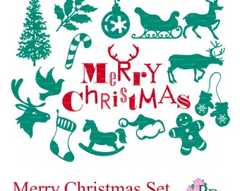 Sale 50% SVG Christmas Tree, Deer Cutting file Digital Die Cut Xmas Noel Silhouette Cameo cutter Scrapbooking Cardmaking EasyCutPrintPD