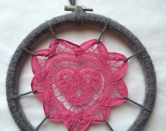 Daydreamer - Doily Wall Art in Hot Pink & Gray