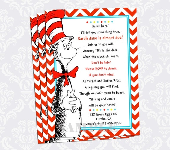 cat in the hat baby shower invitation dr seuss baby shower red