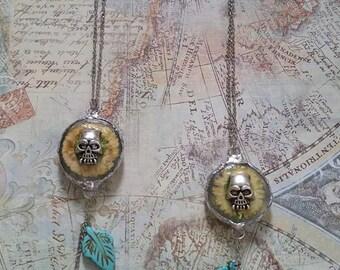 Flower Skull Pendant Necklace