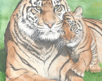 A Parents Protection Watercolor Painting Print