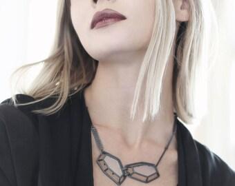 Geometric Statement Necklace, Polygon Jewelry, Bold Unusual Bib Necklace, Geometric Shape, 3D Architectural Sculptural Black Necklace