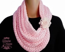 Knitted Infinity Scarf w/ Attached Flower Cuff – Baby Pink, Super Soft, Plush, Cuddly, Lightweight, Spring Scarf, Spring Fashion