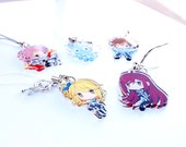 Lucy, Erza, Natsu, Happy, Gray - Fairy Tail Hand-Drawn Double Sided Front & Back Anime Acrylic Charms with Phone Strap