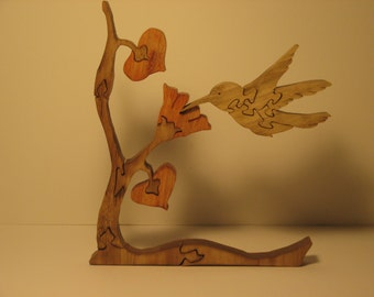 Wooden Hummingbird Puzzle Wooden Puzzle Bird Lover gift Hummingbird free standing 3 dimensional puzzle