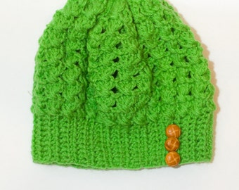 Spring Green Crochet Tam with Buttons