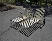 Pair Vintage Mid Century Modern Wrought Iron Lawn Patio Chaise Lounge Chairs Salterini Style