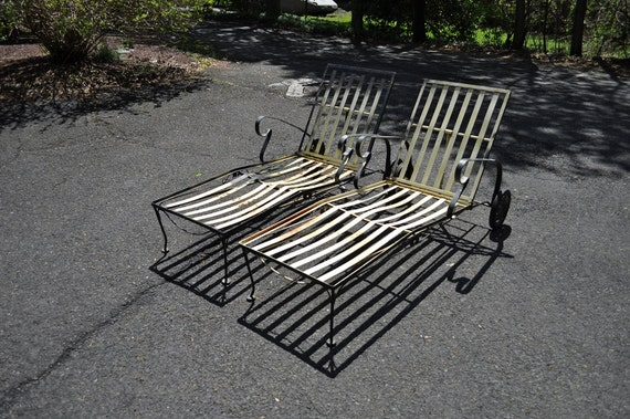 Pair Vintage Mid Century Modern Wrought Iron Lawn By