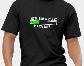 Installing Muscles Funny Gym Motivation Bodybuilding Weightlifting Workout Muscle T-Shirts Crossfit Fitness Kettlebell