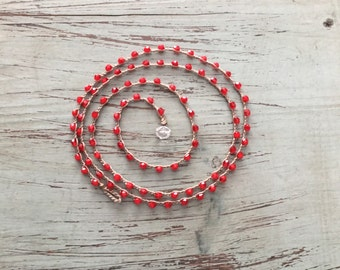 Boho beachwrap bracelet or necklace Boho Beach Glam/ Beach jewelry/waterproof/versatile/true red