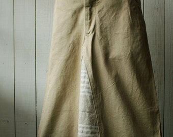 Vintage remake skirt/Grecce/Greek military pants/chino/1970's/custom/handmade/cotton/Beige