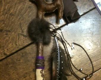 Lovely wolf cub medicine/ shamanic rattle