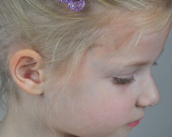 "Childrens hair clip ""Papillon"" made with faceted glass seed beads and Swarovski crystals"