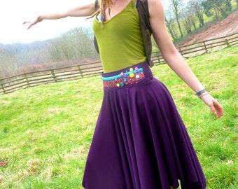 Bohemian dreams medieval folk skirt. flowing beaded handkerchief pixie, fairy skirt. One of a kind