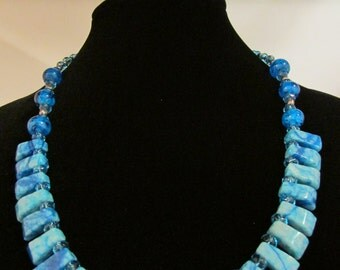 Ocean Blue Shell/Glass Necklace