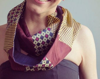 Upcycled Vintage Neckties Infinity Scarf bordeaux, blue and yellow.