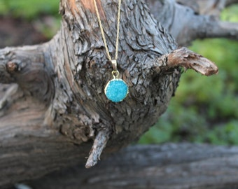 Blue Druzy Necklace, Blue Agate Necklace, Geode Necklace, Boho Chic, Bohemian Jewelry