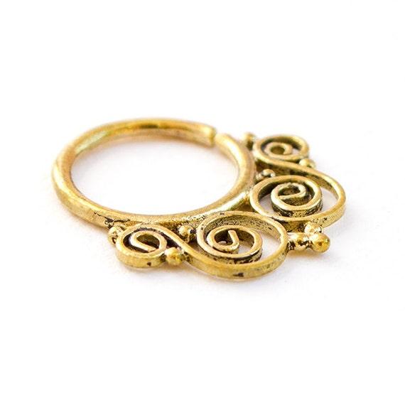 1.2mm 16g Brass Septum Ring for pierced nose. brass septum ring. tribal septum ring. septum piercing. septum jewelry. septum ring.