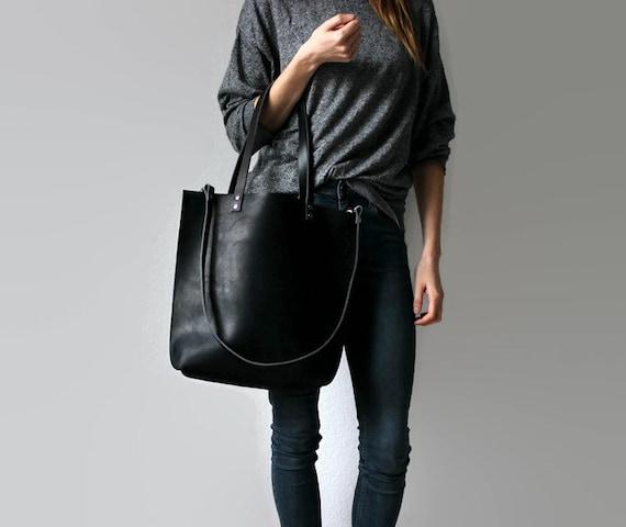 schwarzer leder shopper alva tote bag. Black Bedroom Furniture Sets. Home Design Ideas
