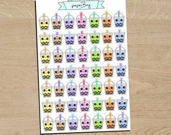 Super Cute Bubble / Boba Tea Planner Stickers