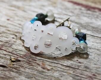 Acrylic jewelry bracelet- sea beads, recycled glass beads, girl friend gift, mom, modern jewelry, whimsical
