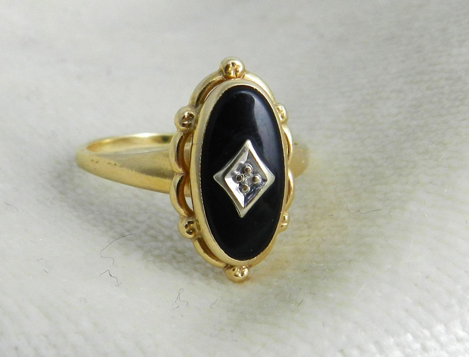 antique ring with black onyx and in 14k by