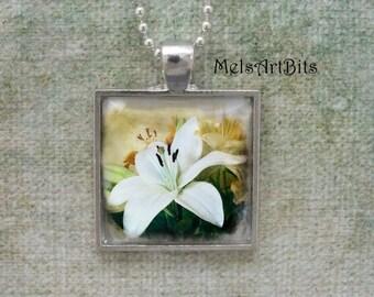 White Lily Flower Feminine Romantic  Photo Pendant Necklace