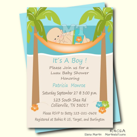 Unique Tropical Baby Shower Invitation Hawaiian Luau Baby Boy