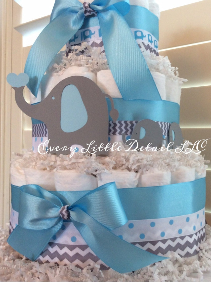 Elephant diaper cakeblue gray elephant theme diaper - Baby shower chevron decorations ...