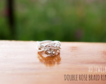 Beautiful Braided Rose Ring!! Double Rose braid Ring~~