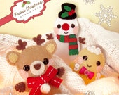 Kawaii Felt Christmas Ornaments - Cute Craft Pattern - Reindeer, Snowman, Gingerbread Ornament