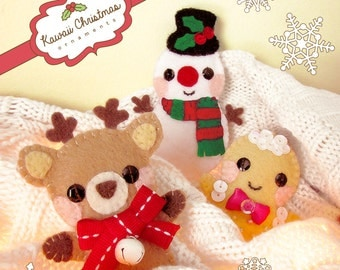 Kawaii Felt Christmas Ornaments - Craft Sewing Pattern - Reindeer, Snowman, Gingerbread Ornament