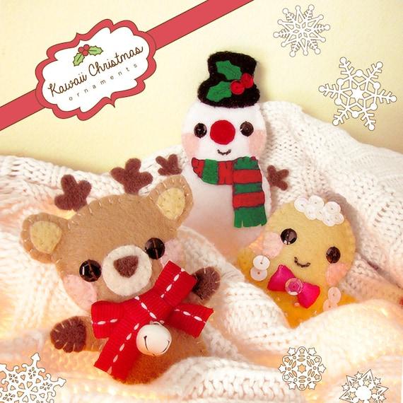 Kawaii Felt Christmas Ornaments Craft Sewing Pattern