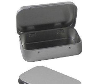 """Metal Hinge Top Tins Containers for Sewing, Beads, Crafts Geocache Storage Survival Kit Geocaching 3.9"""" by 2.45"""" hinged"""