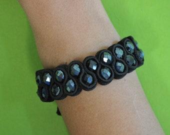 Black velvet beaded bracelet