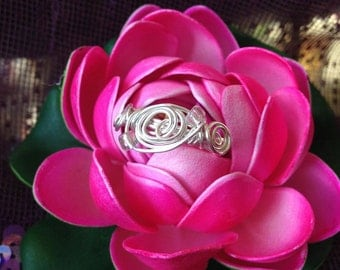 Whimsical Spiral Silver Wire Wrapped Ring Size 8.5