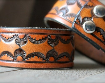 Men's Up-cycled Vintage Tooled Leather Belt Cuff
