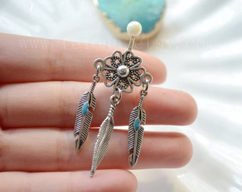 New Turquoise Leaf belly button ring, Leaf Navel Piercing, belly rings, Dream Catcher Belly Button Piercing, Belly jewelry, Body jewelry