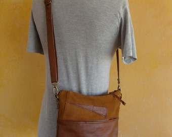 Blue Ribbon Crossbody Purse Handmade from Upcycled Suede and Leather Jackets