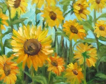 Sunflowers I, flowers, floral, original art, 9 x 12, oil painting, plein air painting