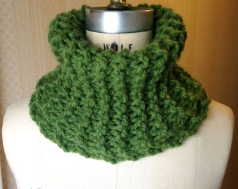 Forest Green Cowl Neck Scarf Hand-Knit Wool Blend